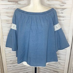 JOE'S JEANS Chambray Off the Shoulder Top Blue L
